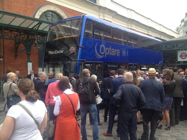 Optare valde att göra invigningen till en publik aktivitet utanför London Transport Museum i Covent Garden.