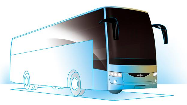 Van Hool lanserar efter sommaren en ny turistbuss i budgetklassen. Hittills har man bara visat skisser på bussen. Illustration: Van Hool.