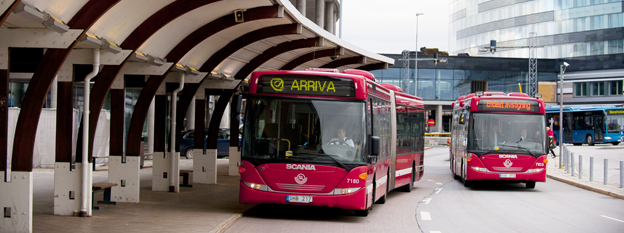 Arrivabussar vid Arlanda. Foto: Arriva.