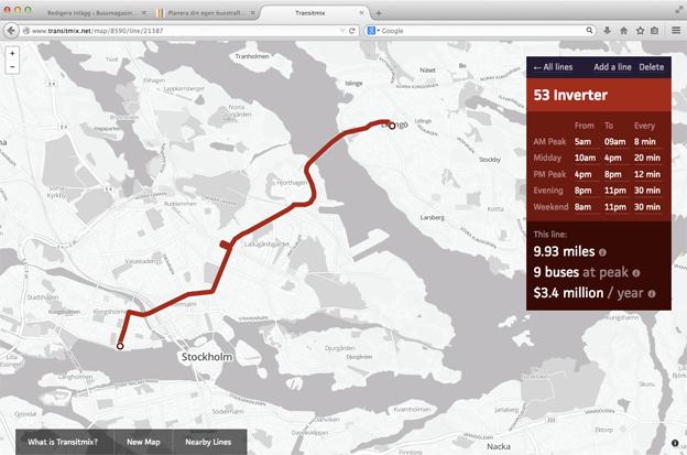 Exempel ur TransitMix på en ny, tänkt busslinje från Lidingö till Kungsholmstorg i Stockholm.