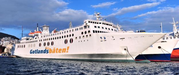 Gotlandsbåtens M/V Västervik ligger alltjämt kvar i Grekland. Bild: Gotlandsbåten