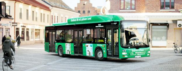 Bussresenärer i Lund får till sensommaren fler resmöjligheter. Foto: Skånetrafiken.