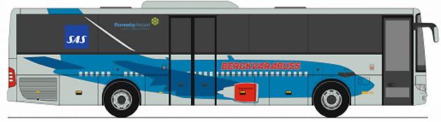 Bergkvarabuss tar den 1 juli upp konkurrensen med Trossö Buss om flygbussarna till Ronneby flygplats. Bild: Bergkvarabuss.