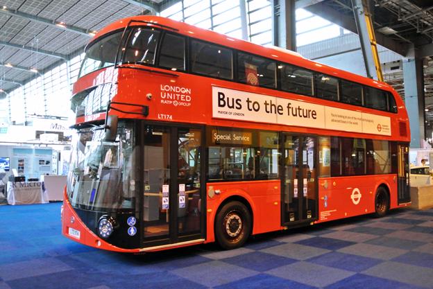 Wrightbus´ hybridbuss New Bus For London. Utställningsbussen tillhör statliga franska RATP:s bussbolag i London, London Buses.
