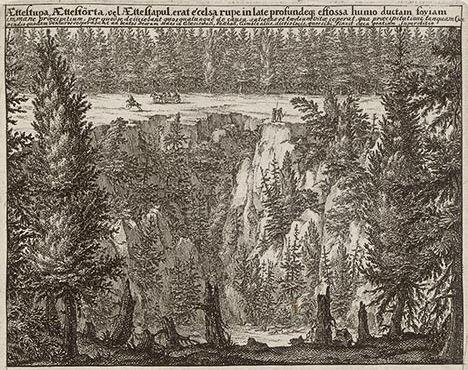 Ättestupan återinförd? Bilden från 1600-talet visar en ättestupa i Västergötland.