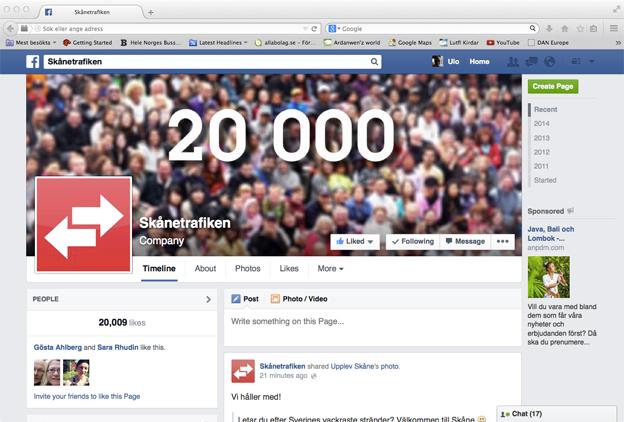 Skånetrafiken passerade på torsdagen 20 000 likes på Facebook. Därmed är man överlägset störst på FB av landets trafikhuvudmän/regionala kollektivtrafikmyndigheter.