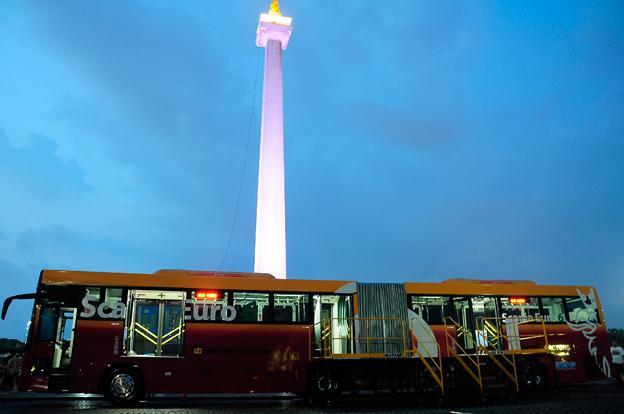 Innan Scania fick ordern från Transjakarta hade man en demobuss på plats i Jakarta. Foto: Scania.
