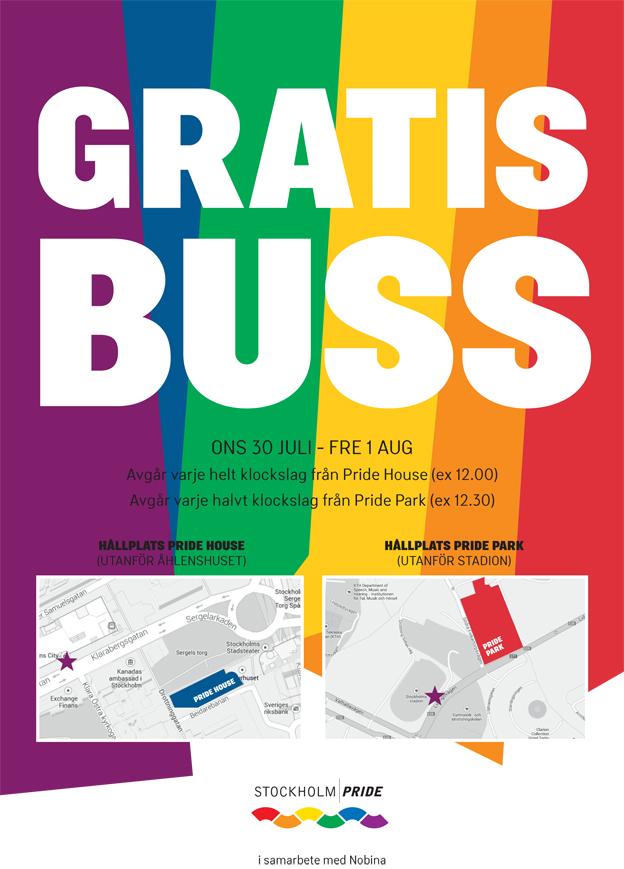 Nobina kör gratisbuss mellan Pride House i Kulturhuset och Pride Park på Östermalms idrottsplats.