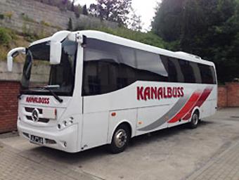 En av Kanalbuss´ tolv nya bussar. Foto: Kanalbuss.