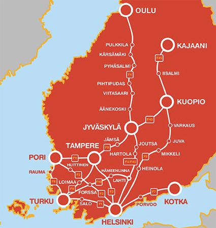 … och finska Onnibus. Mellan dem ligger de baltiska staterna där estniske Hugo Osulas Sebe är ledande expressbussaktör.