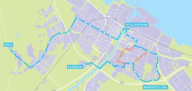Stadstrafiken i Lidköping ändras i december. Illustration: Västtrafik.