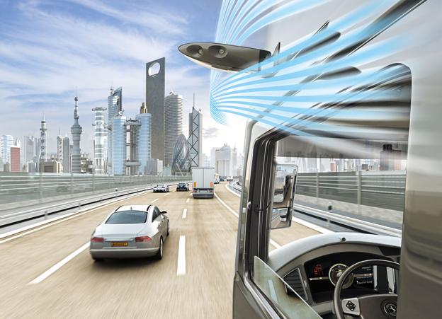 Kameror som är högt placerade och mer aerodynamiska än yttre backspeglar kan i framtiden ersätta dessa. Föraren ser en kristallklar bild på monitorer som är placerade vid de främre stolparna på fordonet, precis som backspeglar. Bild: Continental.