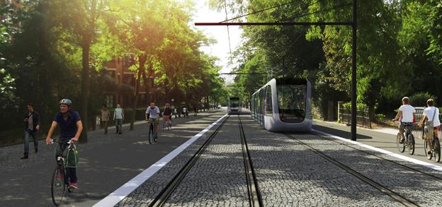 Spårvägsplanerna i Lund går en oviss frmtid till mötes sedan Alliansen och FörNyaLund har enats om elbussatsning nästa år. Bild: Metro Arkitekter och Lunds kommun.