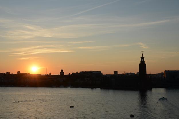 Solnedgång över Ridddarfjärden i Stockholm. Huvudstaden hade i sommar sin starkaste turistsommar någonsin. Foto: Ulo Maasing.