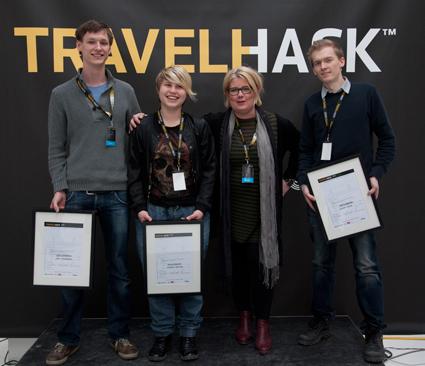 Det vinnande laget bakom ResLedaren vid Travelhack i Stockholm, våren 2013. Foto: Samtrafiken.