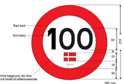 Så vill danska myndigheter att en 100-dekal i Danmark ska se ut –med dansk flagga.