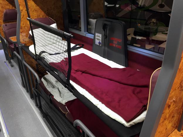 """""""Sängarna"""" är mer av britstyp där passageraren sover med fötterna i färdriktningen."""