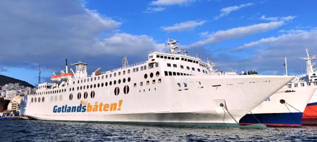 M/V västervik är historia blott för Gotlandsbåten som nu jagar nytt tonnage för trafikstart 2016. Bild: Gotlandsbåten.