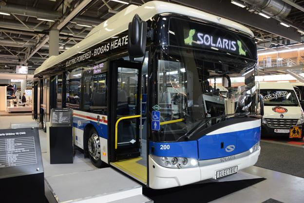 Solaris visade också den första Urbino Electric som ska rulla på svenska gator, närmare bestämt i Västerås. Foto: Ulo MAasing.