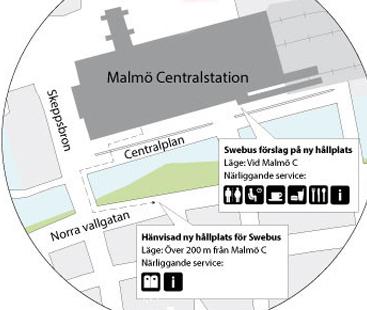 Placeringen av fjärrbussarnas hållplats vid Malmö Central har nu blivit en fråga för Konkurrensverket. Bussarna hänvisas till Norra Vallgatan, medan Swebus vill ha hållplats på Centralplan, betydligt närmare övrig kollektivtrafik. Illustration: Swebus.