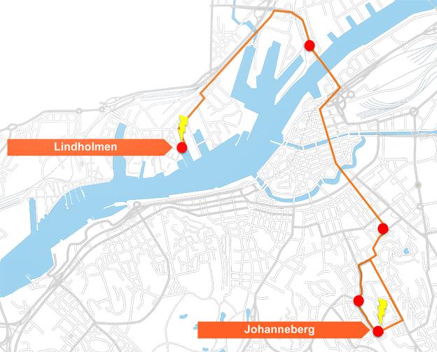 ElectriCitylinjen ska gå från Johanneberg, via Avenyn till Lindholmen Science Park på Hisingen.