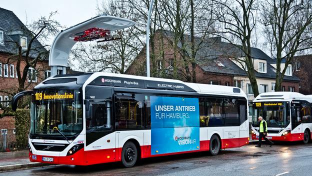 Nu har Hamburgs unika innovationslinje invigts. Foto: Volvo Bussar.