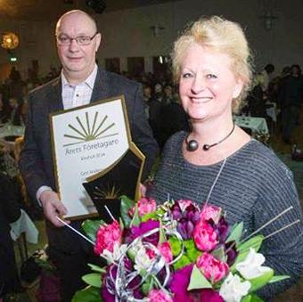 Ägarna till Gerts Busstrafik, Gert och Eva-Lott Andersson, har utsetts till Årets Företagare i Älmhults kommun. Foto: Gerts Busstrafik.