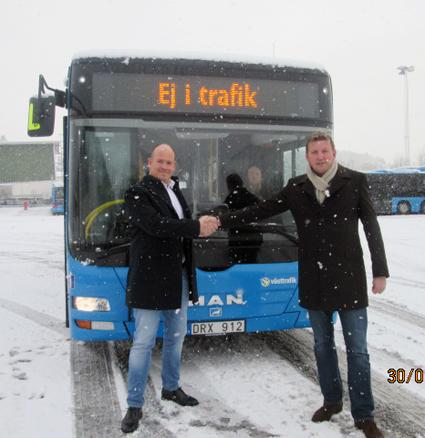 Jonas Helsner, till vänster lämnar Solaris och går till Jocke Bay, Svenska Neoplan, till höger. Foto: Svenska Neoplan.