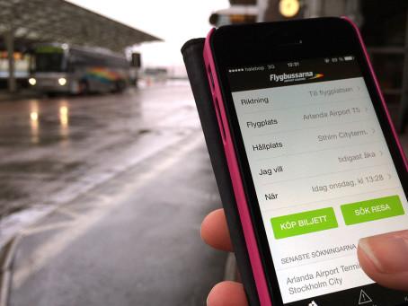 Flygbussarna har lanserat en ny app för den som tar bussen till flyget. Foto: Flygbussarna.