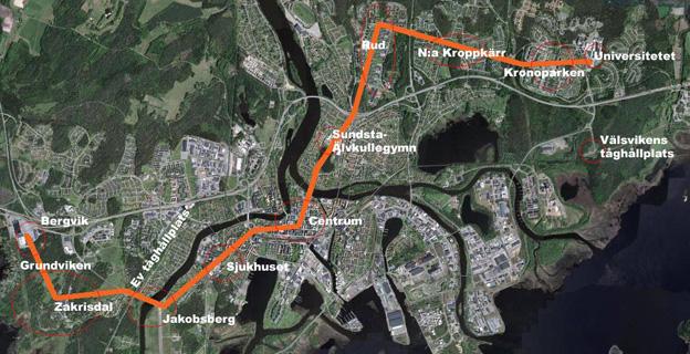 Så här är Karlstadsstråkets sträckning tänkt att bli.