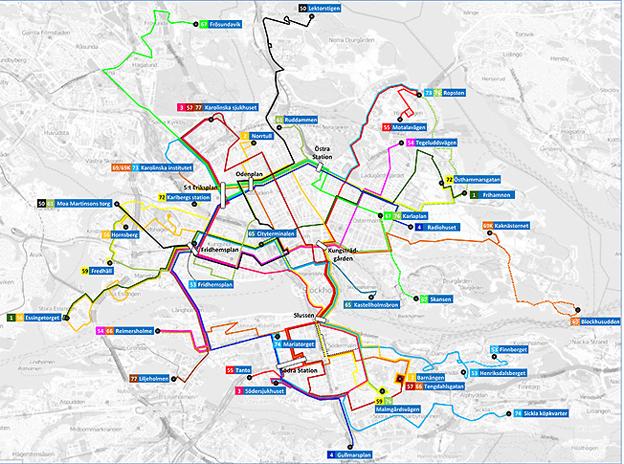 Det nya linjenätet i Stockholms innerstad. Källa: Trafikförvaltningen i Stockholms läns landsting.