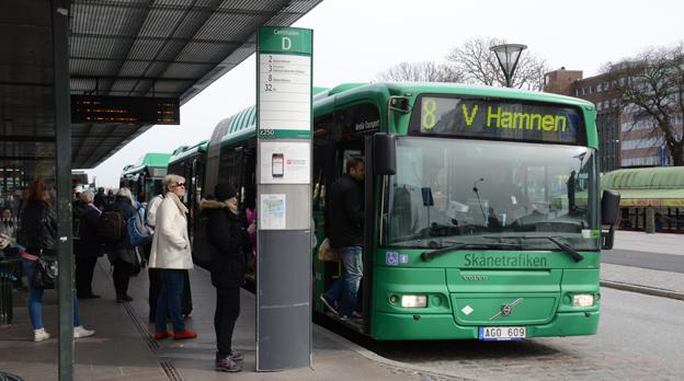 Resandet med stadsbussarna i Malmö minskade i fjol. Det slåt på resandesiffrorna för hela Skånetrafiken. Foto: Ulo Maasing.