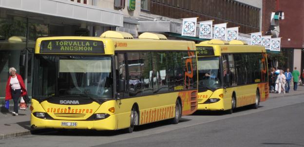 Stadsbussarna i Östersund vill jaga bort kontanterna. Foto: Ulo Maasing.