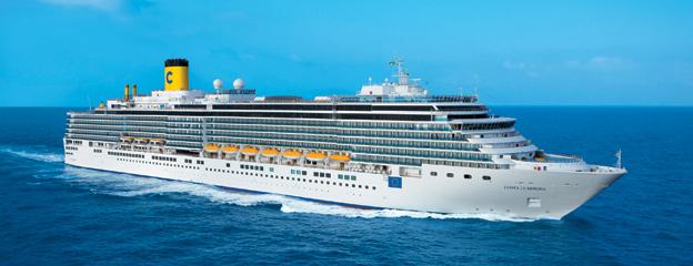 Costa Luminosa kommer att kryssa i Östersjön under tre sommarmånader. Nu erbjuder BIG Travel bussanslutningar från sex orter i Mellansverige. Foto: Costa Cruises.