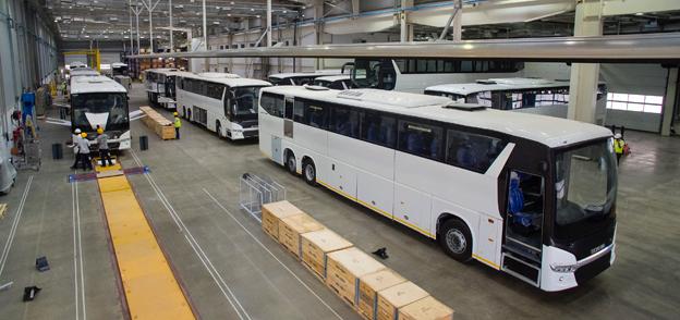 Anläggningen i Indien är idag dimensionerad för en produktion av 1000 bussar om året. Foto: Scania.