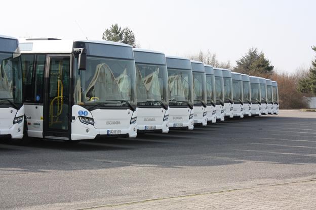 Scania har levereerat 25 CityWide LE för industritrafik i Ludwigshafen, Tyskland. Foto: Scania.