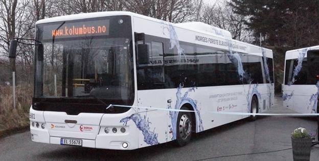 Norges första batteribusslinje invgides på onsdagen. Foto: Enova.