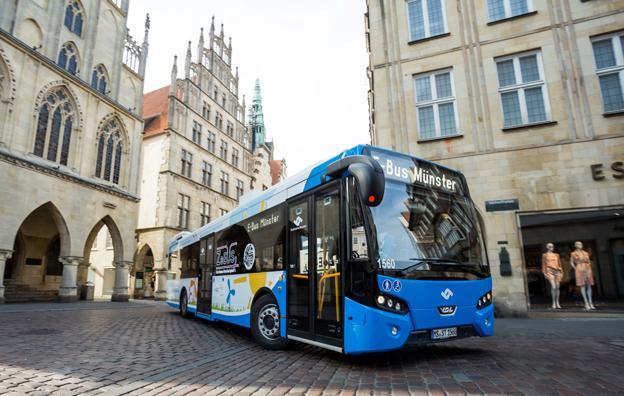 VDL Citea Electric, nu i trafik i den historiska tyska staden Münster. Foto: VDL Bus & Coach.