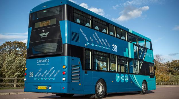 Wrightbus lanserade dubbeldäckaren StreetDeck i fjol. Snart kommer den också som elbuss. Foto: Wrightbus.