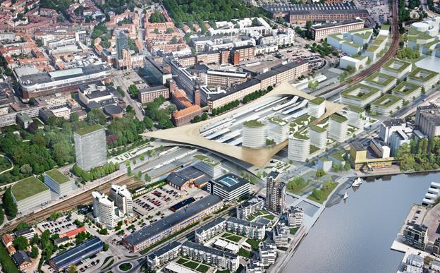 Västerås nya resecentrum kommer att samla allt under ett tak, samtidigt som det förbinder stadskärnan med områdena vid Mälaren. Bild: BIG-Bjarke Ingels Group.