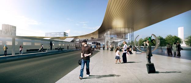 """Bussterminalen är sammanlänkad och ligger under samma tak som resten av Resecentrum. Själva plattformen utformas som en """"ö-terminal"""" med dubbelriktad busstrafik längs den södra sidan. På den centrala plattformsdelen finns väderskyddade väntrum. Bild: BIG-Bjarke Ingels Group."""