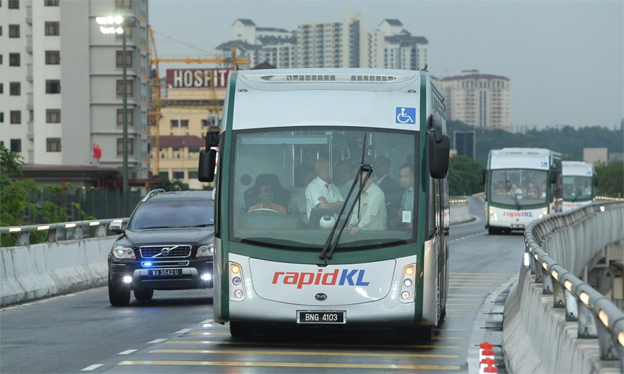 Världens första BRT-linje som enbart trafikeras med batteribussar invigdes i veckan i Kuala Lumpur, Malaysia. Foto: BYD.
