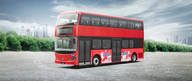 I oktober sätts världens första batteridrivna dubbeldäckare i trafik i London. Bild: BYD.