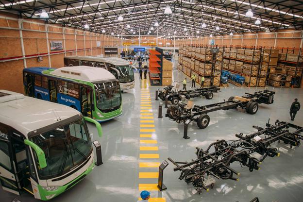 4000 Mercedesbussar om året ska monteras i den nya fabriken utanför Bogotà, Colombia. Foto: Daimler Buses.