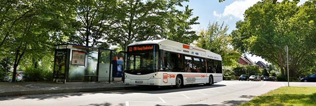 Den tyska staden Mannheim har satt elbussar från schweiziska Hess i trafik. Bussarna laddas kontaktlöst med Bombardiers Primoveteknik. Foto: Bombarider.