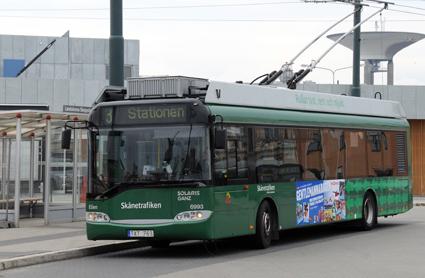 Solaris har sålt stora volymer trådbussar, bland annat de fyra som går i trafik i Landskrona. Foto: Ulo Maasing.