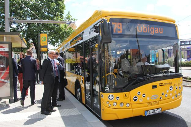 Den tyska staden Dresden har nu tagit emot sin första elbuss från Solaris. Foto: Solaris.