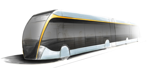 Den framtidsversion av BRT-bussen Exqui.City som Van Hool kommer att presentera har bland annat 30 procent större fönsterytor på sidorna. Samtliga illustrationer: Van Hool.