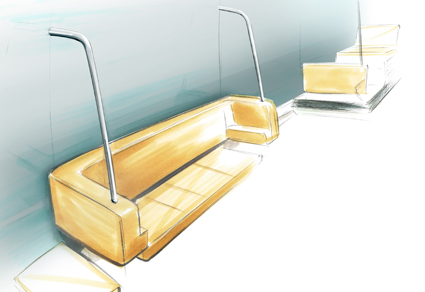 I passagerarutrymmet har det tillkommit bland annat en lång uppfällbar bänk.