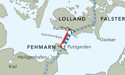 Tunneln under Fehmarn Bält går mellan Rødby och Puttgarden.